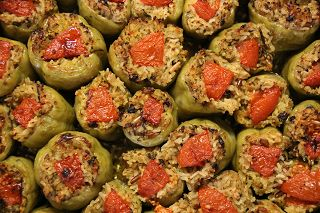 Lekkeressen - Gefüllte Paprika mit Kalbshackfleisch und Reis