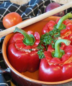 Gemüse mit Hackfleisch-/ Reisfüllung